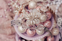 Blush and white beads close up Royalty Free Stock Photography
