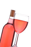 Blush Wine Bottle And Glass Royalty Free Stock Image