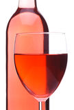 Blush Wine Bottle And Glass Stock Photos