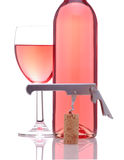 Blush Wine With Glass and Corkscrew Royalty Free Stock Photography