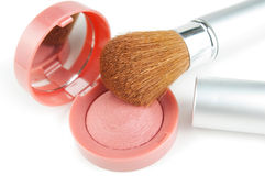 Blusher and make-up brush. On white background Royalty Free Stock Photography