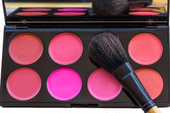 Blusher Palette. With brush. Women make up palette stock photo Stock Images
