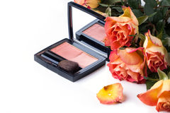 Blusher and roses over white Stock Image