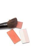 Blushers and correcting powder with brush Stock Photography