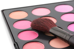 Blushes palette and brush Stock Photography