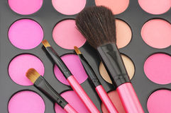 Blushes palette and brushes Royalty Free Stock Images