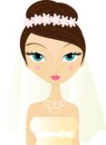 Blushing Bride. Pretty bride with flowers in her hair Stock Image