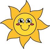 Blushing sun emoticon outline illustration