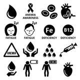 Blut, Anämie, Ikonen der menschlichen Gesundheit eingestellt stock abbildung