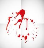 Blut spritzt auf Papier Stockfotografie