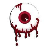 Blutaugapfelkarikatur auf weißem Hintergrund Stockbild