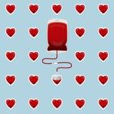 Blutbeutel mit Herzen stock abbildung