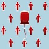 Blutbeutel mit Leuten die Bluttransfusionen Lizenzfreies Stockfoto