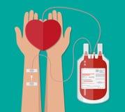 Blutbeutel und Hand des Spenders mit Herzen abgabe Stockfotos