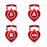 Blutgruppe Die kreativen Blutgruppen, die in Herzen zeigen, formen mit vektor abbildung