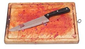 Blutig und Messer stockfoto
