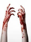 Blutige Hände auf einem weißen Hintergrund, Zombie, Dämon, Wahnsinnige, lokalisiert Stockbild