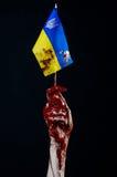 Blutige Hände, die Flagge von Ukraine im Blut, Revolution in Ukraine, schwarzer Hintergrund Lizenzfreie Stockfotografie