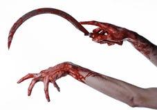 Blutige Hand, die eine Sichel, Sichel blutig, blutige Sense, blutiges Thema, Halloween-Thema, weißer Hintergrund, lokalisiert häl lizenzfreies stockfoto