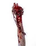 Blutige Hand, die Kette, blutige Kette, Halloween-Thema, weißer Hintergrund, lokalisiert hält Lizenzfreie Stockfotografie