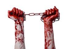 Blutige Hand, die Kette, blutige Kette, Halloween-Thema, weißer Hintergrund, lokalisiert hält Lizenzfreie Stockbilder