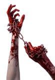 Blutige Hand, die Kette, blutige Kette, Halloween-Thema, weißer Hintergrund, lokalisiert hält Stockfotos