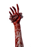Blutige Hand, die Kette, blutige Kette, Halloween-Thema, weißer Hintergrund, lokalisiert hält Lizenzfreie Stockfotos