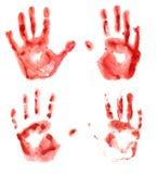 Blutige Handdrucke Stockfotos