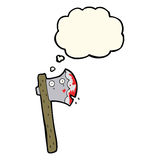 blutige Karikaturaxt mit Gedankenblase Lizenzfreie Stockbilder