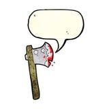 blutige Karikaturaxt mit Spracheblase Stockbild