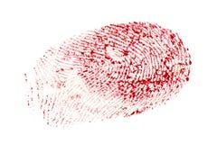 Blutiger Fingerabdruck lokalisiert auf einem weißen Hintergrund Lizenzfreies Stockbild
