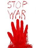 Blutiger Handstempel Stoppen Sie Krieg Über Weiß Lizenzfreies Stockbild