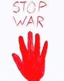 Blutiger Handstempel Stoppen Sie Krieg Über Weiß Lizenzfreies Stockfoto