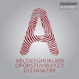Blutiges Fingerabdruck-Alphabet und Zahl-Vektor Lizenzfreies Stockbild