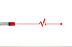 Blutspende von der Nadel, zu pulsieren geduldiges Leben stockbild