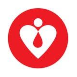 Blutstropfen auf einem Hintergrund von Herzen Stockfoto
