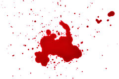 Blutstropfen auf einem weißen Hintergrund stockbilder