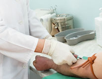 Blutzeichnung von einer Ader Lizenzfreies Stockbild