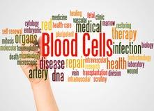 Blutzellewortwolke und -hand mit Markierungskonzept lizenzfreies stockbild