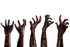 Blutzombiehände, Zombiethema, Halloween-Thema Lizenzfreies Stockfoto