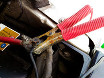 Bluza kable Samochodowa bateria Obrazy Royalty Free