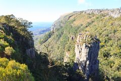 Blyde River Canyon panorama, South Africa. Blyde River Canyon panorama. The Pinnacle rock, famous landmark. South african landscape, Africa Stock Photos