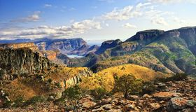 Blyde River Canyon (South Africa). The Blyde River Canyon is a significant natural feature of South Africa. It is approximately 26 kilometers in length and is Stock Images