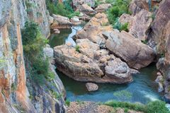 Blyde River Canyon,South Africa, Mpumalanga, Summer Landscape. Red rocks and water stock photo