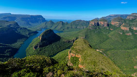 Blyde River Canyon and The Three Rondavels. (Three Sisters) in Mpumalanga, South Africa. The Blyde River Canyon is the third largest canyon worldwide Royalty Free Stock Photos