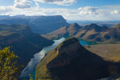 Blyde river lake, South Africa. Lake near the Three Rondavels, from Blyde River Canyon, South Africa. Famous landmark. African panorama Stock Photo