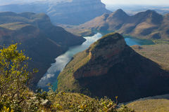 Blyde river lake, South Africa. Lake near the Three Rondavels, from Blyde River Canyon, South Africa. Famous landmark. African panorama Royalty Free Stock Photo