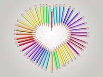 Blyertspenna-hjärta vektor illustrationer