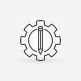 Blyertspenna i kugghjulsymbolen stock illustrationer