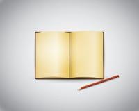 Blyertspenna och öppen tappningbok Arkivbild